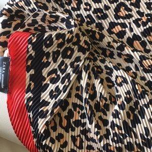 Pleated zara print animal leopard print sc…